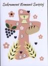 Karnet B6 Komunia Krzyż różowy