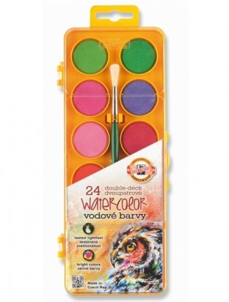 Farby akwarelowe transparentne 24 kolory + pędzel