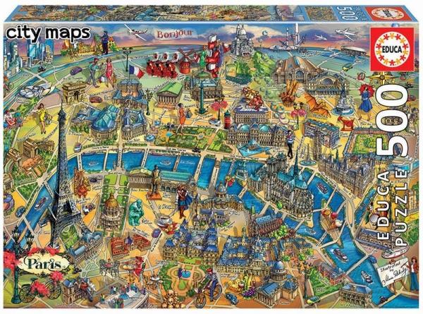 Puzzle 500: Mapa Paryża (18452)
