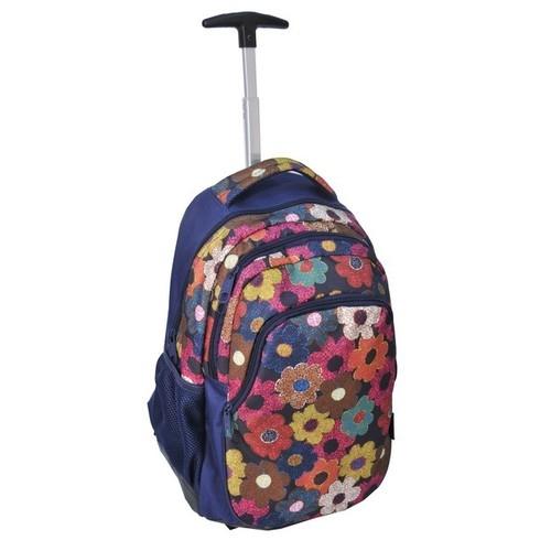 Plecak młodzieżowy na kółkach Kwiaty