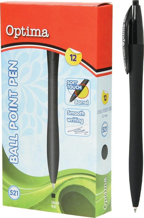 Długopis OPTIMA Soft Touch 521 czarny 12 sztuk
