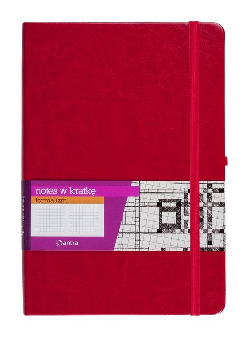 Notes A5 z gumką Formalizm kratka czerwony