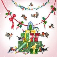 Karnet Swarovski kwadrat Święta Prezenty ptaki