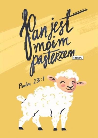 Pocztówka z kolorowanką - Pan jest moim pasterzem