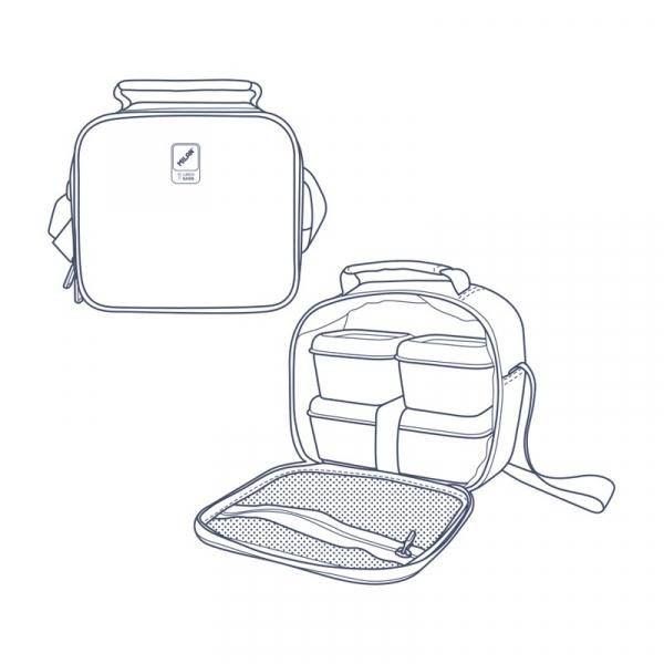 Termiczna torba Milan na żywność 3,5 l z 3 pudełkami na lunch z kolekcji Terrazzo Blue granatowa (08806TZB)