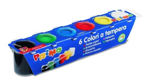 Farby plakatowe Primo Tempera 6 kolorów w plastikowych pojemnikach
