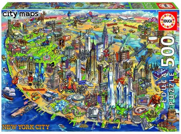 Puzzle 500: Mapa New York (18453)