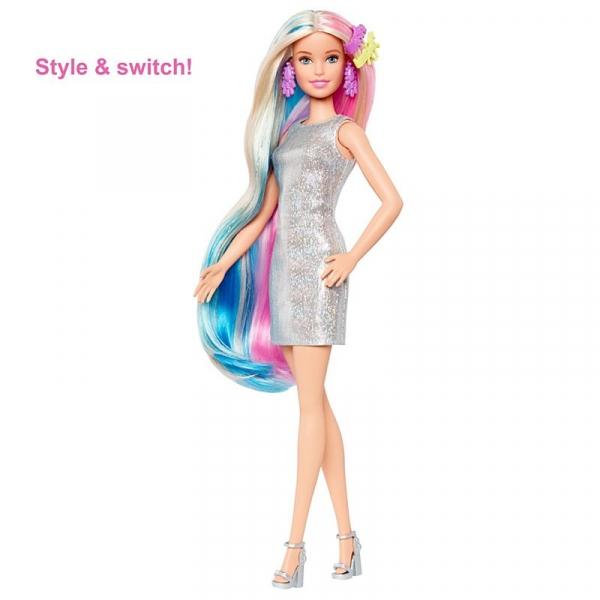 Barbie: Baśniowa fryzura - Lalka ze stylizacją jednorożca i syrenki (GHN04)