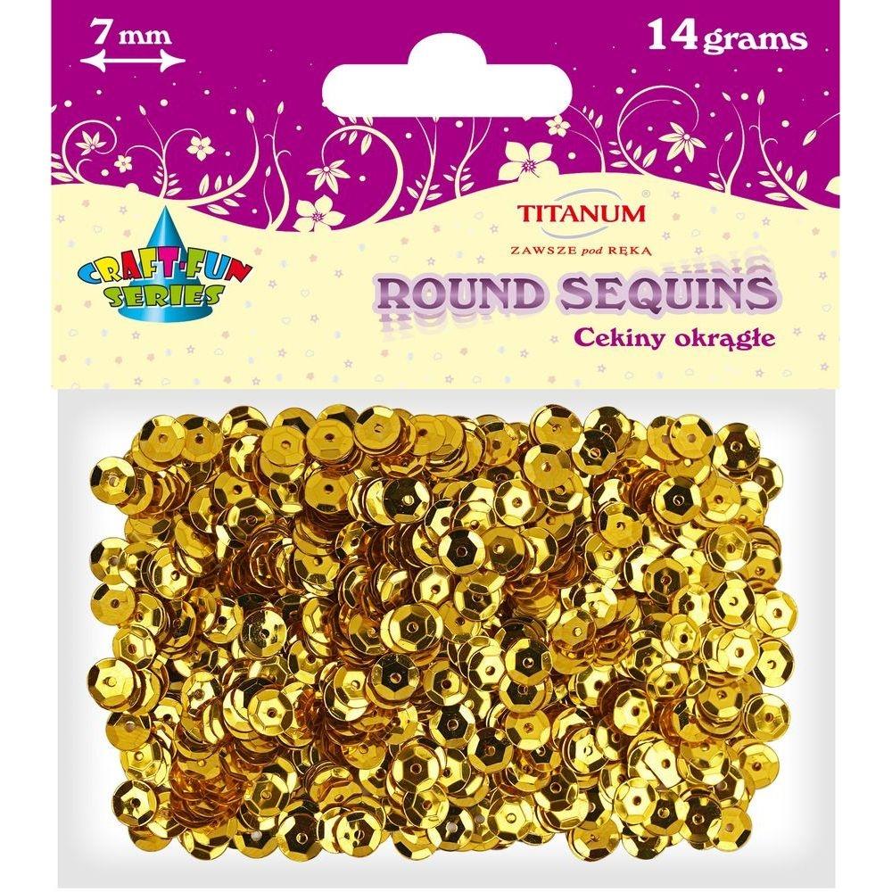 Cekiny okrągłe 7mm 14g - metaliczne złote (260076)