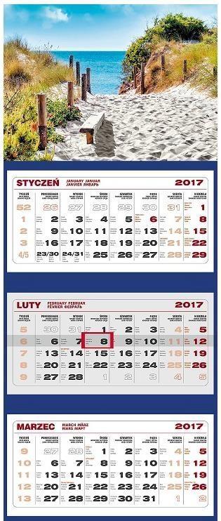 Kalendarz 2017 Ścienny Trójdzielny Morze