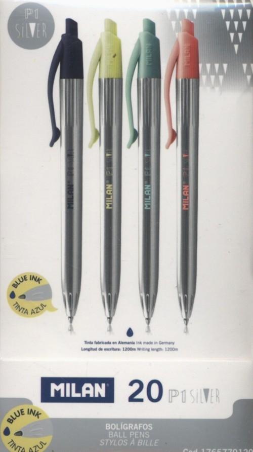 Długopis Milan P1 Silver 20 sztuk mix