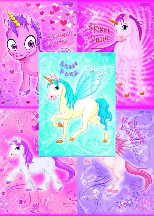 Zeszyt A5 Top-2000 w trzy linie 16 kartek Sweet Pony 20 sztuk mix