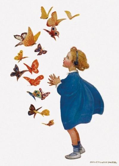 Karnet B6 z kopertą Little Girl and Butterflies