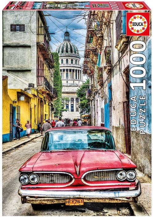 Puzzle Oldskulowe auto w starej Hawanie 1000  (16754)