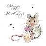 Karnet Swarovski kwadrat Urodziny myszka