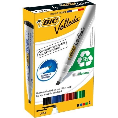 Marker Velleda ECO ścięta końcowka mix kolorów 4 sztuki