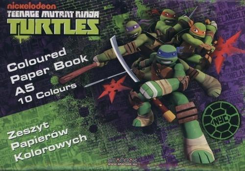 Zeszyt papierów kolorowych A5 Wojownicze Żółwie Ninja 10 kartek 25 sztuk