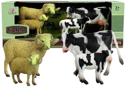 Zestaw Figurek Zwierzęta Baranek Krowa 4 Figurki