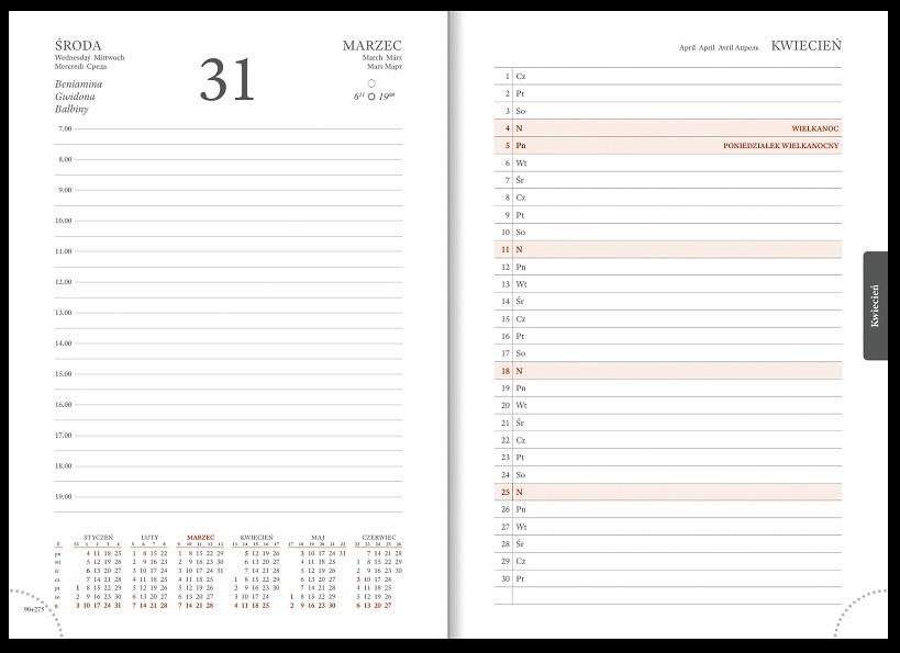 Kalendarz 2021 A5 Dzienny Cross z gumką - czerwony