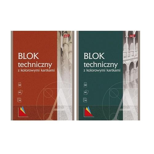 Blok techniczny z kolorowymi kartkami A4/10 UNIPAP