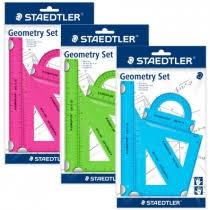 Zestaw kolorowych przyborów do matematyki, linijka, kątomierz, 2x ekierka
