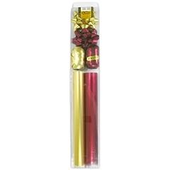Zestaw do pakowania LUX 2kokardki+2wstążki+2rolki papieru metalik,złoto-bordowy