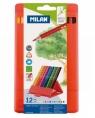 Kredki ołówkowe Milan 231 FLEXI BOX trójkątne, 12 kolorów w plastikowym opakowaniu (0729312)