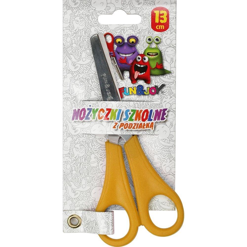Nożyczki szkolne Fun&Joy z podziałką, 13 cm