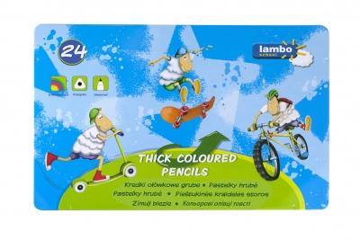 Kredki lambo school trójkątne grube 24 kolory (L325M24)