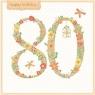 Karnet kwadrat z kopertą Urodziny 80