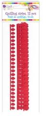 Płatkowe paski do quillingu stokrotka - czerwone, 12 szt. (QGPQ-044)