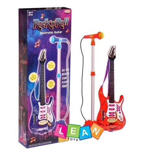Gitara z mikrofonem metalowe struny statyw