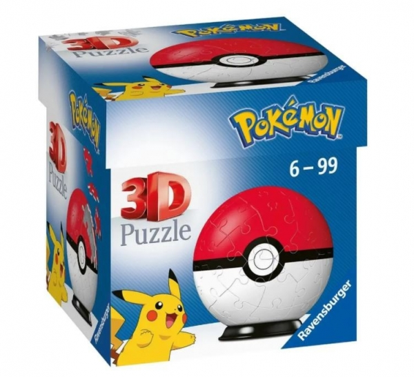 Puzzle 54 elementy 3D Kula, Pokemon czerwona (11256)