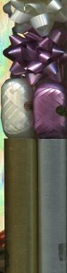 Zestaw do pakowania LUX 2 kokardki 2 wstążki 2 rolki papieru metalik