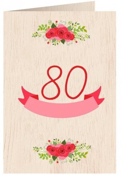 Karnet drewniany C6 + koperta Urodziny 80