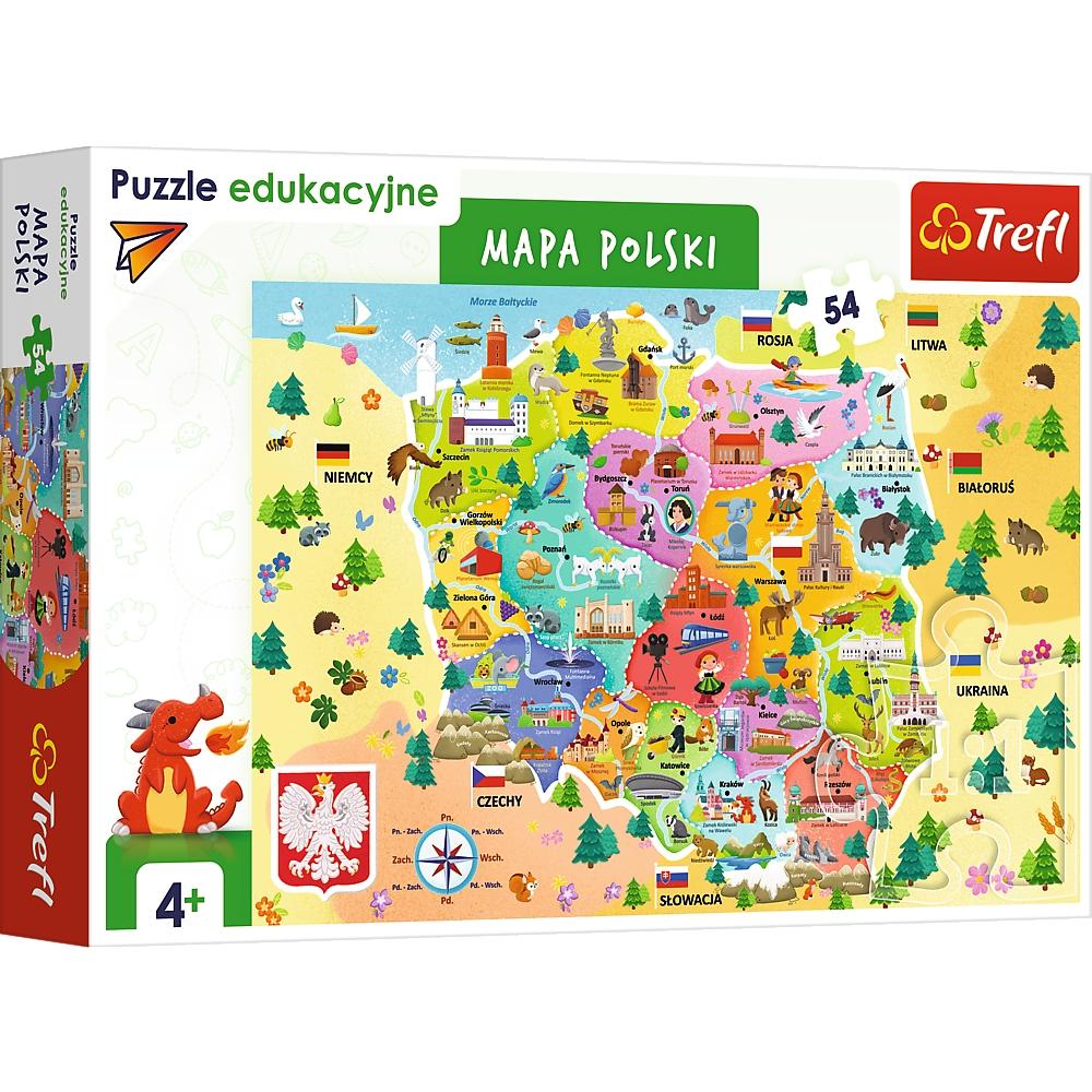 Puzzle edukacyjne 54: Mapa Polski (15556)