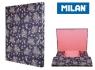 Teczka MILAN A4 gruba z gumką FLOWERS niebiesk
