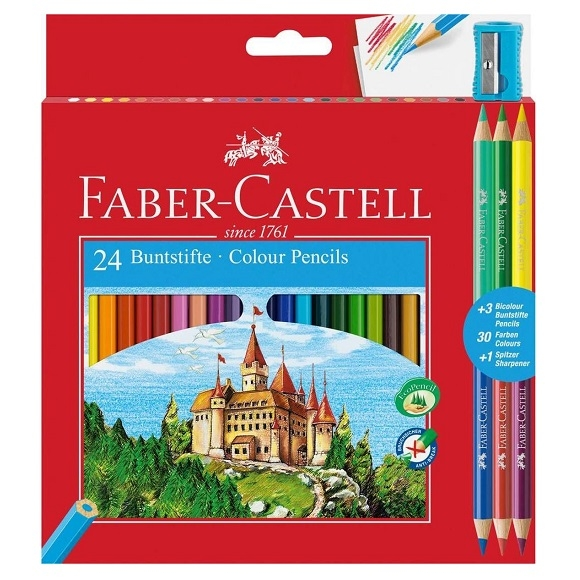 Kredki Zamek Faber-Castell, 24 kol. + 3 dwustronne, temperówka