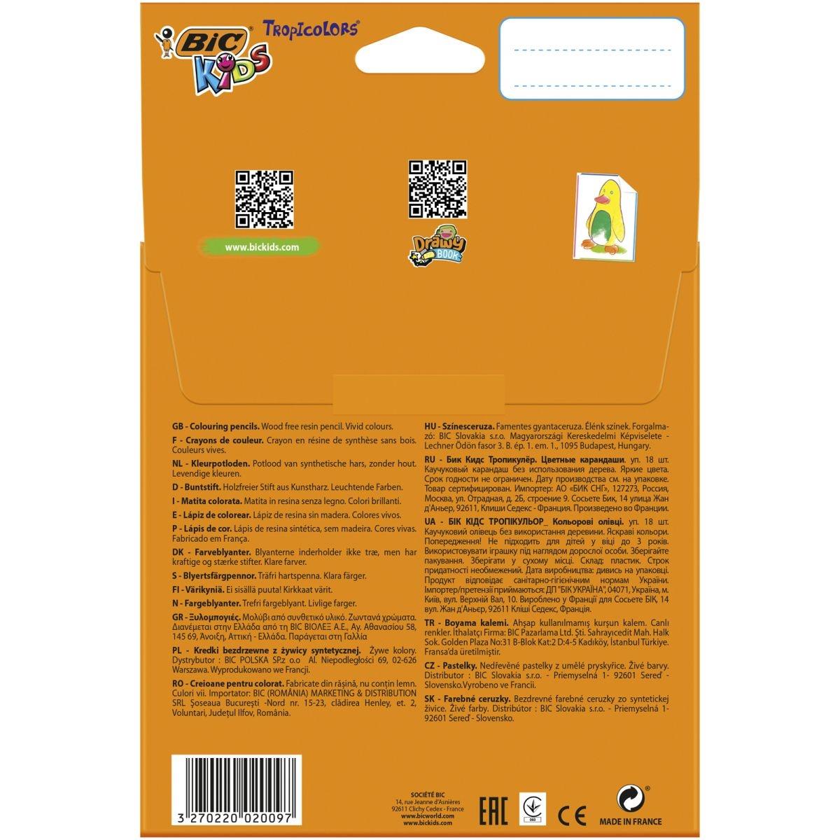 Kredki ołówkowe Bic Kids Tropicolors, 18 kolorów (832567)