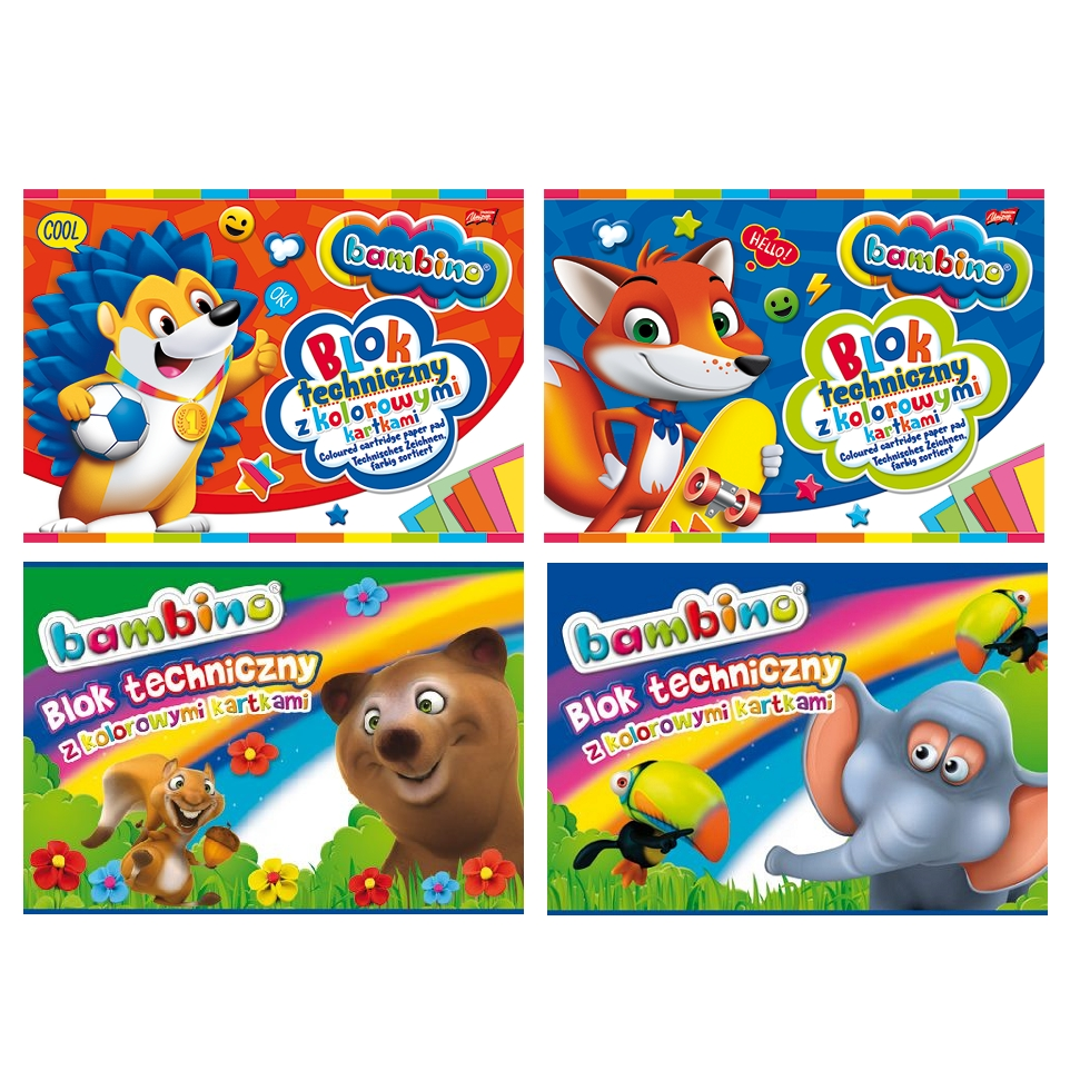 Blok techniczny Bambino A4/10 z kolorowymi kartkami