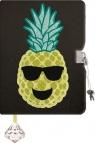 Pamiętnik z kłódką włochacz & cekiny dwustronne Pineapple A5, 96 kartek, linia