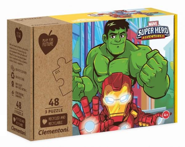 Puzzle 3x48: Play for future - Marvel Superhero Adventures (25257). Wiek: 4+