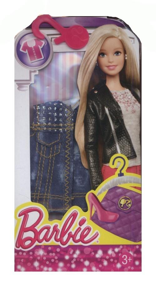 Barbie ubranko top jeans z brokatem