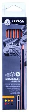 Ołówki grafitowe Lyra graduate 6 szt. 1171061 (5B, 4B, 3B, 2B, B,HB)