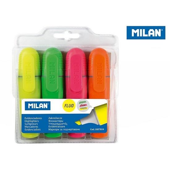 Zakreślacze MILAN FLUO, 4 kolory (1687804)