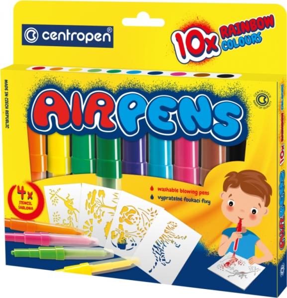 Centropen: Airpens Colouring Set 1500, 10 kolorów + 4 szablonów (615001006)