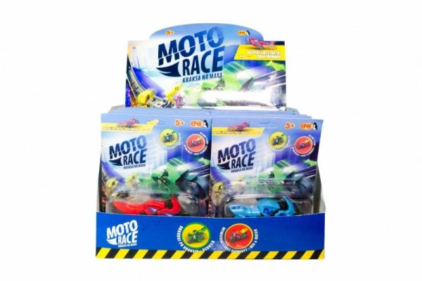 Moto Race - Kraksa na maksa - Motorek 8.5 cm na blisterze. Mix 6 kolorów/ Display 12 sztuk (EP04112)