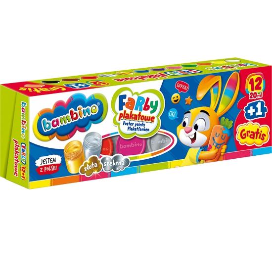 Farby plakatowe Bambino, 12 kolorów + 1 cielista gratis