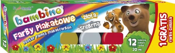 Farby plakatowe Bambino 12 kolorów