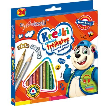 Kredki szkolne trójkątne Bambino, 24 kolory